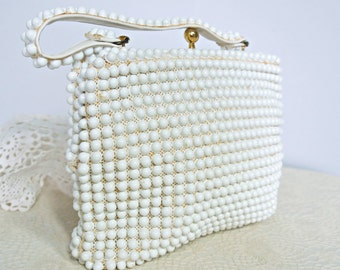 1950's Beaded Handbag Grandee Bead Purse White Hand Held Kiss Lock Bag