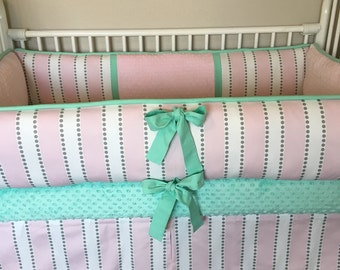 Pink mint grey girl Baby bedding Crib full set
