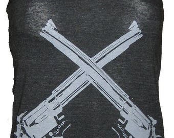 Revolver Guns Art Tank T-shirt Made in USA   XS  S  M    L or XL