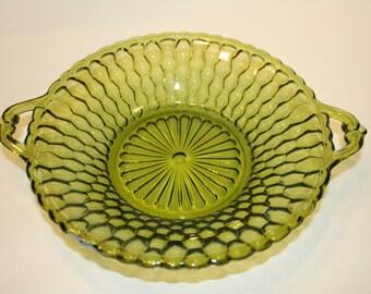 Indiana Glass Honeycomb Double Handled Bowl