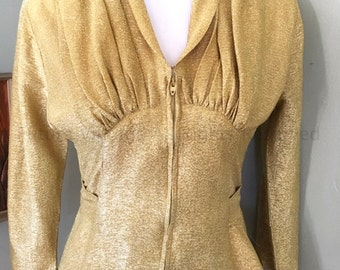 1960s Stunning LINDA OF CALIFORNIA Gold Lurex Zip Front Blouse with Fitted Waist Gathered Shoulders-S