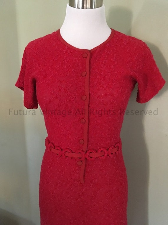 1930s 1940s Beautiful Raspberry Color Short Sleeve Knit Sweater Dress with Original Belt-XS S