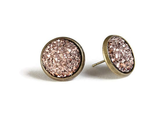 Rose gold textured stud earrings - Faux Druzy earrings - Textured earrings - Post earrings - Nickel free - lead free - cadmium free (826)