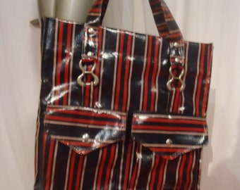 Vintage 1970s Tote Bag Red and Blue Stripes