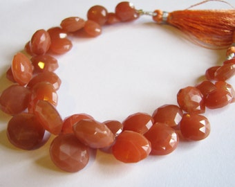 Natural Peach Moonstone, faceted heart briolettes, half strand 9-12mm (w95)