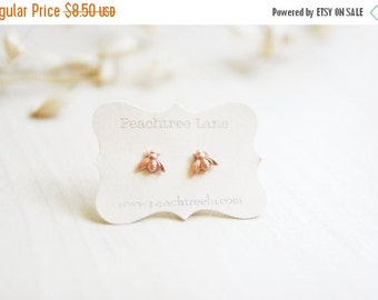 CYBER MONDAY SALE Tiny Copper Bee Earrings >> Honeybee Post Earrings << Bridesmaid Gifts >> Bee Themed Wedding >> Bridal Party Gifts