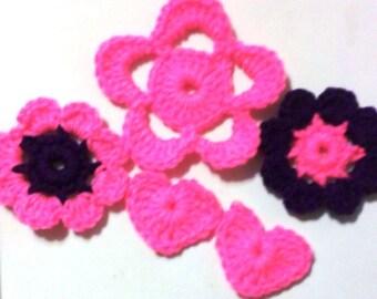 Destash - Flowers, Appliques, Embellishments, Acryllic, Crochet Flowers, Grab bag 4