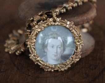 Antique Assemblage Bracelet with Antique French Chain and Diana the Huntress Charm