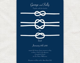 Perfect Nautical Wedding Invitation Suite   Diy Printable   Tie The Knot, Beach  Sailing Navy Blue
