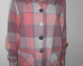 1950's Brown/Coral Checked Western Wool Button-Up Jacket - Size L