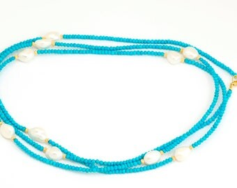 Long Turquoise and Pearl gem necklace with Sterling Silver and 24k Gold Plate