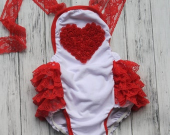 Valentine's Day Romper -Toddler Bubble Romper -1st Birthday Outfit-Baby Sunsuit  Romper-1st Valentine's Day Outfit-Beach Outfit-Photo Prop