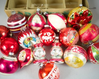 Vintage Red Christmas Tree Ornaments / Glass Ornament Collection