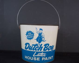Vintage Dutch Boy Advertising Paint Pail w/ Handle / Blue Planter