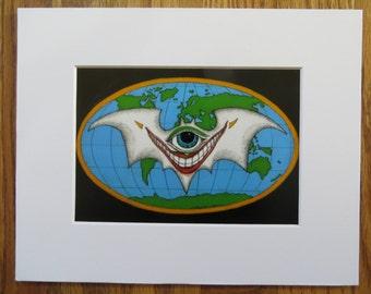 Joker Bat Matted Print of Pen & Ink by Kelly Green H-Baum Comic Clowns Esoteric Agenda