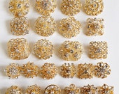 24 pcs Gold Rhinestone Brooch Crystal Brooches Wedding Invitation Cake Decoration Brooch Bouquet Kit Wholesale Lot BR680