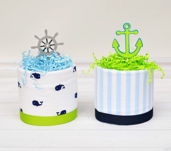 Nautical Baby Shower Centerpieces, Ahoy It's a Boy Baby Shower, Whale Baby Shower, Diaper Cake Centerpieces, Anchor Decor, Blue and Green