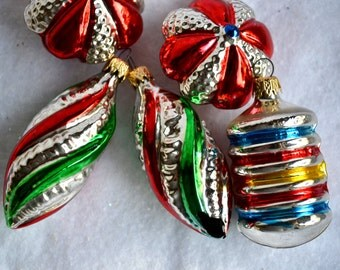 Vintage Christmas Glass Ornaments - Primary Color Stripes - Lot of 5