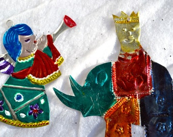 Vintage Mexican Tin Christmas Ornaments - Metal Rhino and Angel
