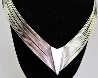 Vintage Modernist Choker Collar Minimalist Necklace Mod Art Deco Retro 20 Strands Contemporary Silver Metal Mothers Day   Runway Statement