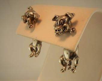 Vintage pewter pig 3D EARlusion earrings, piglet earrings