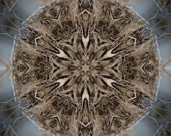 Healing Print, home Meditation Positive Energy, Good Vibe Symbol, Mandala style, nature blue brown Sacred Geometry universal good luck decor