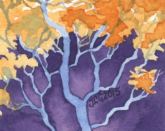 """Whimsical Fantasy Painting """"Yellow Leaves"""" ARCHIVAL ART PRINT 5x7"""