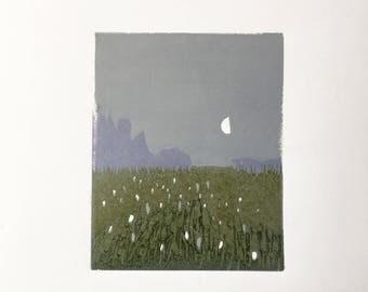 "Moonlit Field • original inocut print 4x5"""