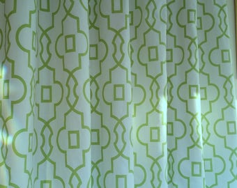 A pair ( two 50W x 96L panels) Bordeaux kiwi green and white,  curtains,  geometric drapes