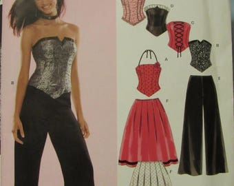 SALE- New Look 6480/Uncut Sewing Pattern/Junior Sizing 3/4-13/14, Girls Skirt, Bustier, Pants/2005