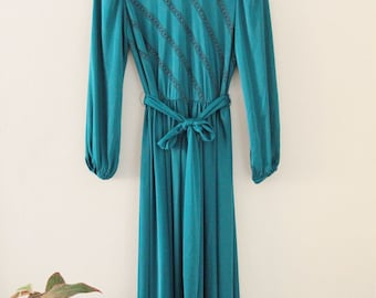 70's Emerald Green Evening Dress