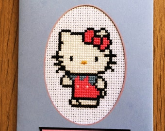 Cross stitched Hello Kitty Happy Birthday card