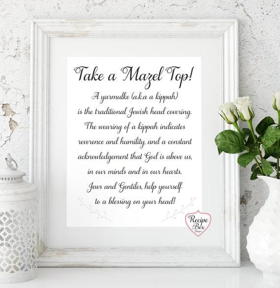 Like this item Mazel Tov Mazel Top Jewish Wedding Signs kippah Jewish. Kippahs For Wedding. Home Design Ideas