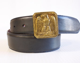 Vintage Men's Belt - Black Polo Ralph Lauren Leather Belt with Brass  American Eagle buckle Size 32
