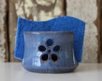 Blue Small Flower Ceramic Sponge Holder | Made to order