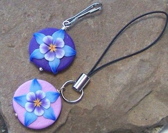 Columbine Zipper Pull, Wildflower Zipper Charm, Scissor Marker, Embroidery Scissor Fob, Quilter Gift, For Her Wife, Mother's Day