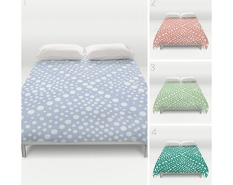 Periwinkle Duvet Cover - Peach duvet cover - Green duvet cover - queen duvet cover - king duvet cover - Twin duvet cover - Emerald bedding