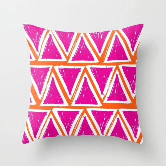 OUTDOOR Throw Pillow . Fuchsia Triangle . Outdoor Pillow . Outside Pillow . Modern . 16 18 20 inch Throw Pillow Triangle Pillow . Bolster