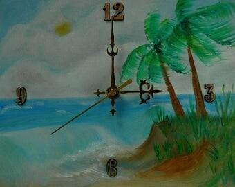 "Summer Breeze Original Oil Painting Clock, 9"" x 11"" x 2"", CP1"