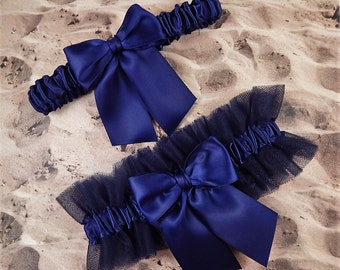 Navy Blue Satin Navy Blue Tulle Bridal Wedding Garter Toss Set