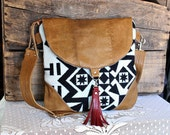 RESERVED- Crossbody Oregon wool purse bag handbag messenger satchel leather trim- black/ caramel-- Ready to Ship--