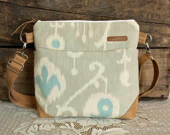 IKAT crossbody Purse Nautical faux suede-- Ready--
