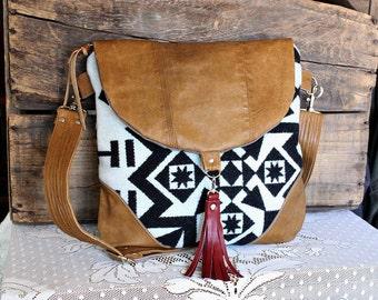 Crossbody Oregon wool purse bag handbag messenger satchel leather trim- black/ caramel-- Ready to Ship--
