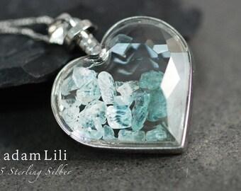 "925 silver necklace ""AQUAMARINE"""