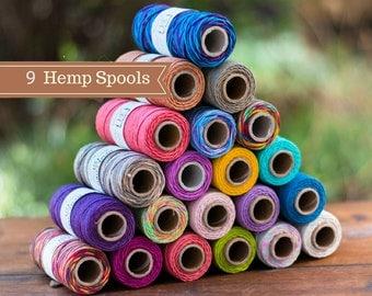 Hemp Cord, 9 Spools, 1mm, 205 Feet,   Hemp Twine,  Macrame Cord, Choose  The Colors