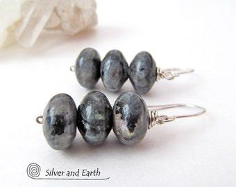 Larvikite Earrings, Black Labradorite, Norwegian Moonstone Earrings, Stone Dangle, Sterling Silver, Gemstone Earrings, Gray Black Earrings