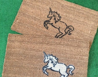 white UNICORN doormat- Welcome to my Fairy tale home
