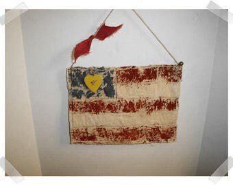USA Flag Ornament/ Tea Dyed Muslin Fabric/Handmade/Patriotic Decor/ Made To Order**