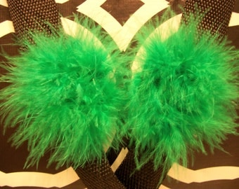 A Pair of Marabou Feather Puff Hair Clips With No-Slip Grips Green