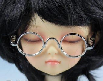 New fashion Dolls Round frame glasses fit 1/4 BJD MSD mini Super Dollfie - Silver